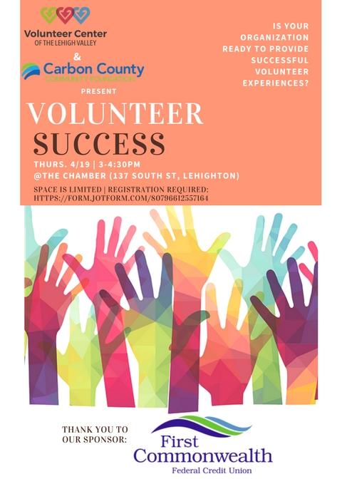 4/19 Volunteer Success Workshop – Almost Full!