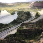 Painting by Milan Melicharek; A view looking north from the Lehigh Gap